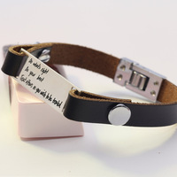Customized Personalized Bracelet Men Leather Bracelet Silver Pendant Personalized Statement Bangles