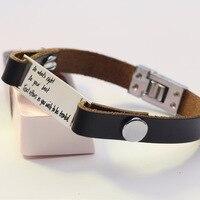 Customized Personalized Bracelet Men Leather Bracelet Silver Pendant Personalized Statement Bangles