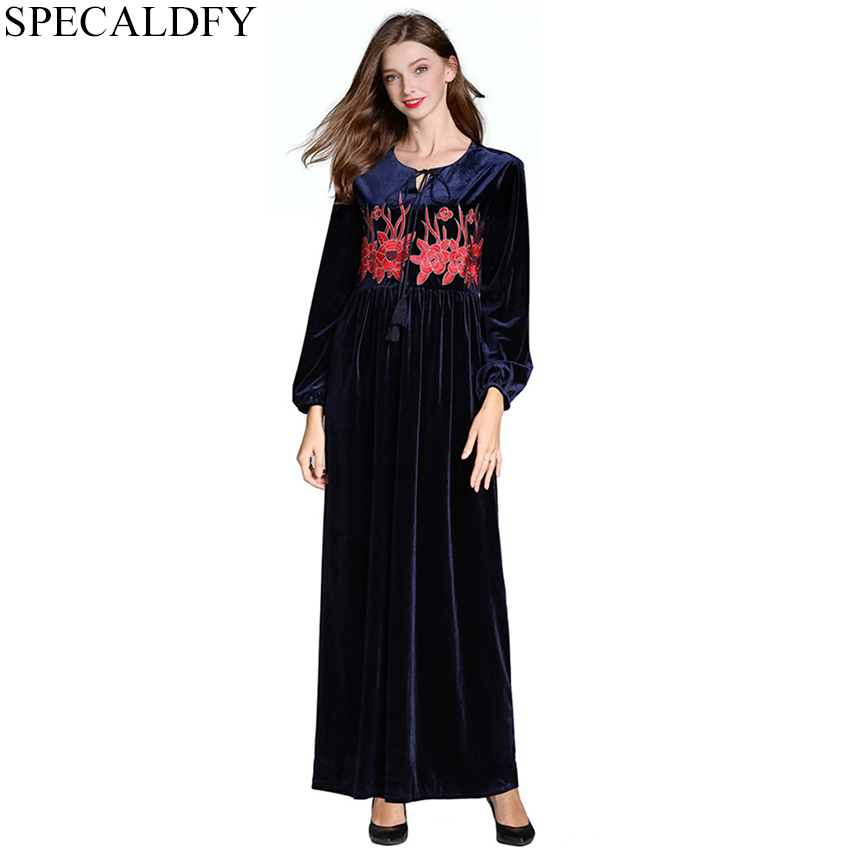 US $32.51 20% OFF|2019 Spring Ethnic Bohemian Dress Women Long Sleeve  Vintage Floral Embroidery Long Maxi Dress Winter Velvet Dresses Plus  Size-in ...