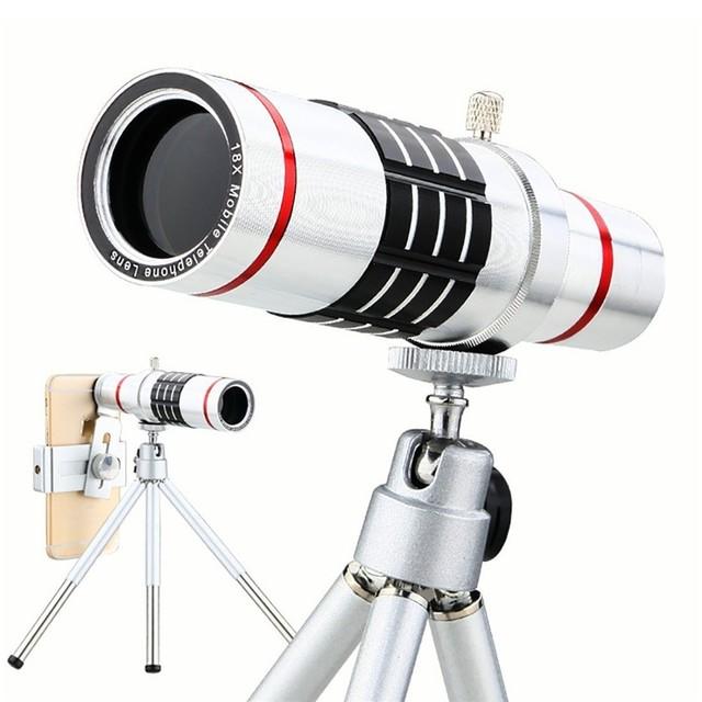 Lentes con mini trípode universal 18x zoom óptico del telescopio del teléfono para samsung iphone xiaomi redmi note meizu oneplus cubot zuk