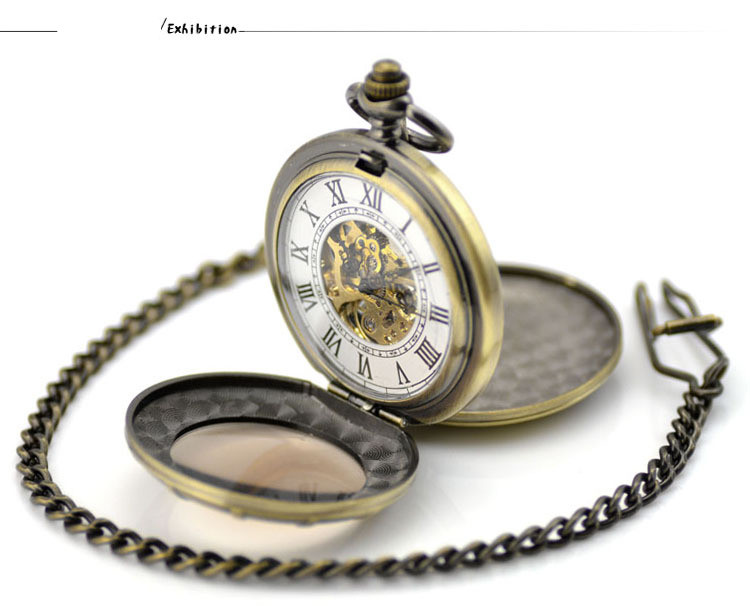 Pocket & Fob Relógio Clamshell Lupa Presente