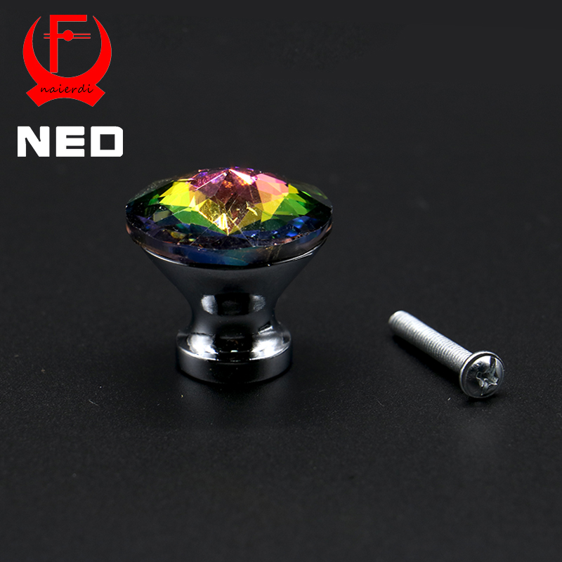 10PCS NED 30mm Diamond Shape Design Colorful Crystal Glass Knobs Cupboard Drawer Pull Kitchen Cabinet Wardrobe Handles Hardware 10 pcs 30mm diamond shape crystal glass drawer cabinet knobs and pull handles kitchen door wardrobe hardware accessories