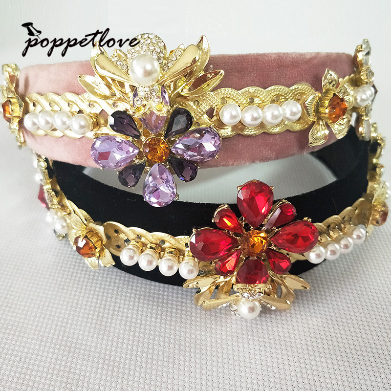European Red Bee Crystal Velvet Tiaras Vintage Gold Rhinestone Pageant Crowns With Comb Baroque Wedding Hair Accessories