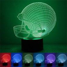 Американский футбол лампа для шлема 3D ночник украшения в спальню 7 цветов дропшиппинг 2019 спортивный для маленьких детей подарки гаджет