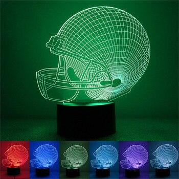 American Football Helmet Lamp 3D Night light Bedroom Decor 7 Colors Dropshipping 2019 Sports Nightlight Baby Child Gifts Gadget