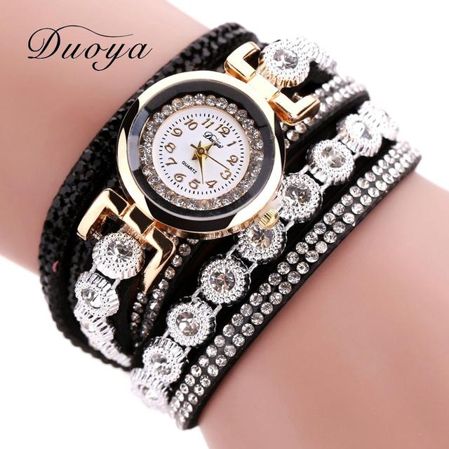 Duoya Brand Women Bracelet Watch 2017 Crystal Round Dial Luxury Wrist Watch For Women Dress Gold Ladies Leather Clock Watch