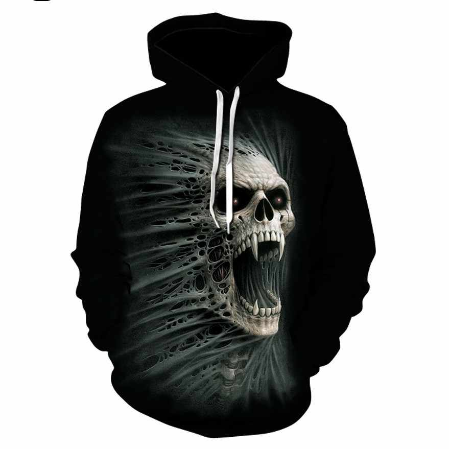 2018 Skull 3D Colour Pullover Hoodies Sweatshirt Jogger Tracksuit Men Woman Sets