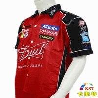 NOVO 2018 Da Marca de Carro de F1 roupas homens Verão Curto-manga da Camisa Bordado Jaqueta de Moto corrida de karting terno para Budweiser
