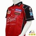 NUEVO 2016 Marca F1 Coche ropa de hombre Verano Camisa de mangas Cortas Bordado Motocicleta Chaqueta de carrera de karting traje para Budweiser