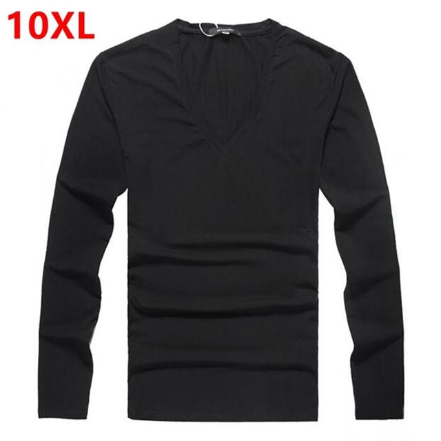 Masculino añadir fertilizantes aumentó de grasa corporal de grasa super gran marea código 8XL V de Lycra de algodón puro cuello de manga larga T-shirt 9XL 10XL