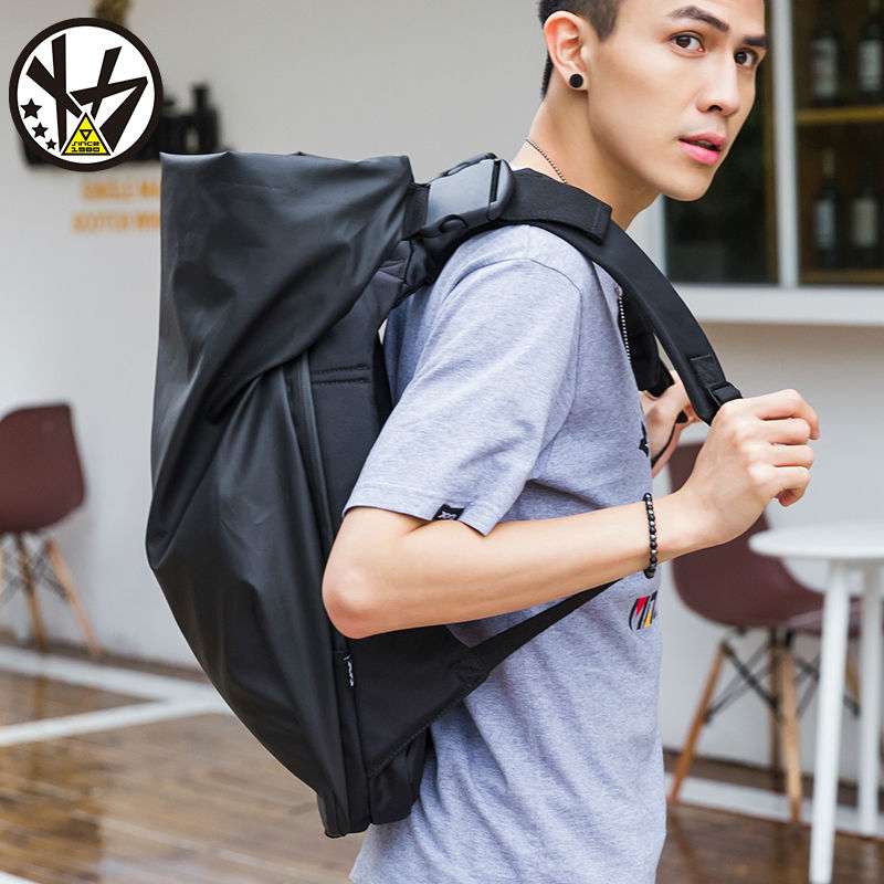 MACKAR Men Male Backpack Cool Schoolbags College Student Backpack Bags  Leisure Laptop Backpacks Black Rubber Oxford Rugzak-in Backpacks from  Luggage   Bags ... e1f3e55d78