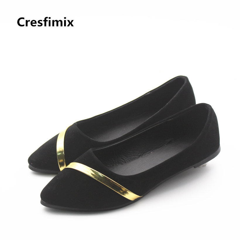 Cresfimix chaussures plates pour femmes women fashion black slip on flock flat shoes lady casual office flats female shoes cresfimix women fashion