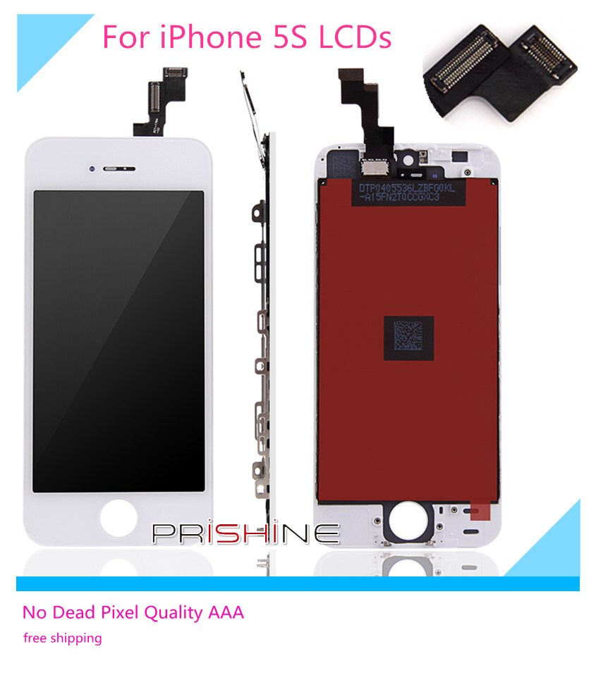 For iPhone 5S LCD 10 PCS/LOT None Spot AAA  Full Assembly with Screen Replacement Lens Pantalla Black White Free DHL Shipping