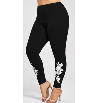 New XXL XXXL 4XL Women Leggings Embroidered Flowers Leggins High Waist Elastic Black Sexy Skinny Leggings For Women