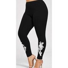 3e588a3295ac5d New XXL XXXL 4XL Women Leggings Embroidered Flowers Leggins High Waist  Elastic Black Sexy Skinny Leggings