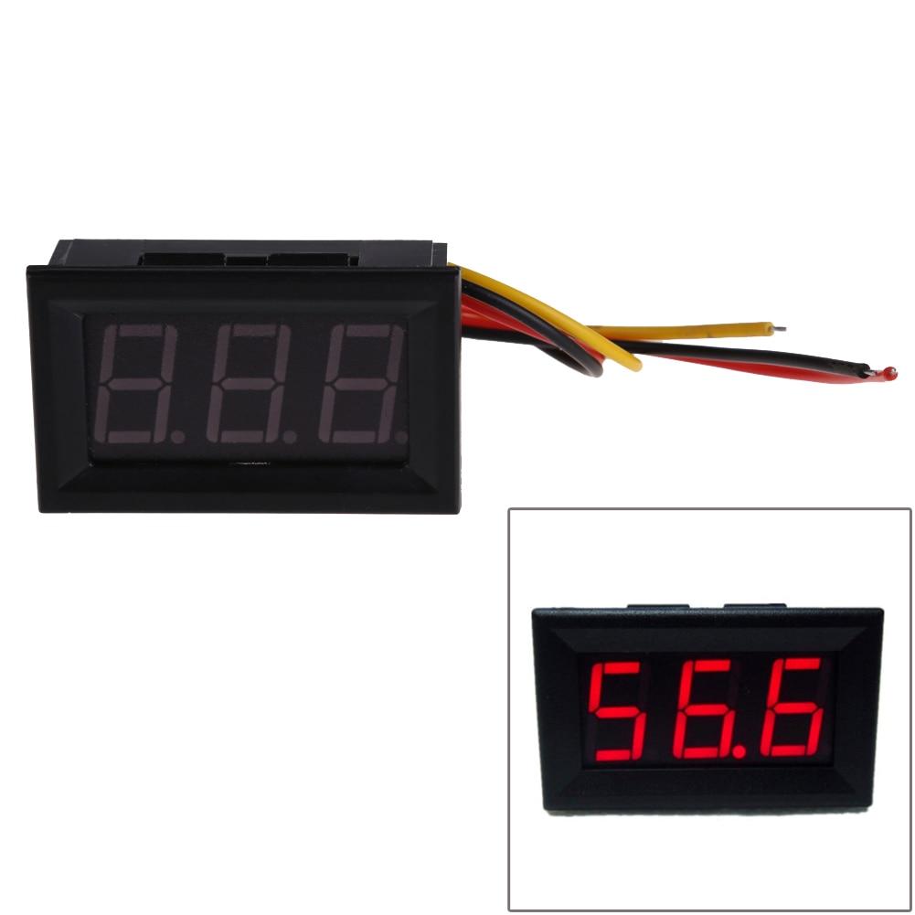 Wires Mini Digital Voltmeter Red LED Display DC0-99.9V Voltage Meter Voltage Detector