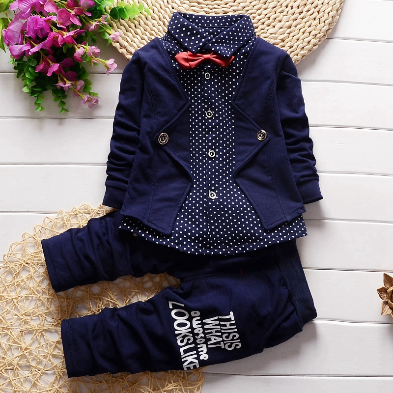 Spring 2017 Baby Boys Sets Gentlman Polka Dot Lapel Collar Bowtie Shirts + Casual Trousers Kids Two Pieces Suits roupas de bebe 2015 fashion baby spring three pieces suits korean printed cardigan shirts