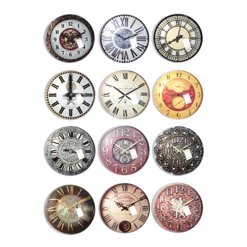 10-30pcs 10mm-30mm Round Handmade Clocks And Watches Photo Glass Cabochons Base Setting Jewelry Charms Accessory No.1024
