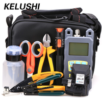 KELUSHI 21 in 1 Fiber Optic FTTH Tool Kit with HS 30 Fiber Cleaver 70~+10dbm Optical Power Meter 10mW Visual Fault Lcator