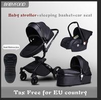 США ЕС Бесплатная доставка! бренд 3 в 1 детская коляска алюминиевый сплав Детские коляски кожи Двусторонняя шок ребенка тележка 2 в 1 aiqi babyfond