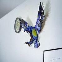 69cm diy 3d águia de madeira unicórnio arte casa decoração suspensão da parede do escritório suportes armazenamento cremalheiras acessórios de decoração para casa