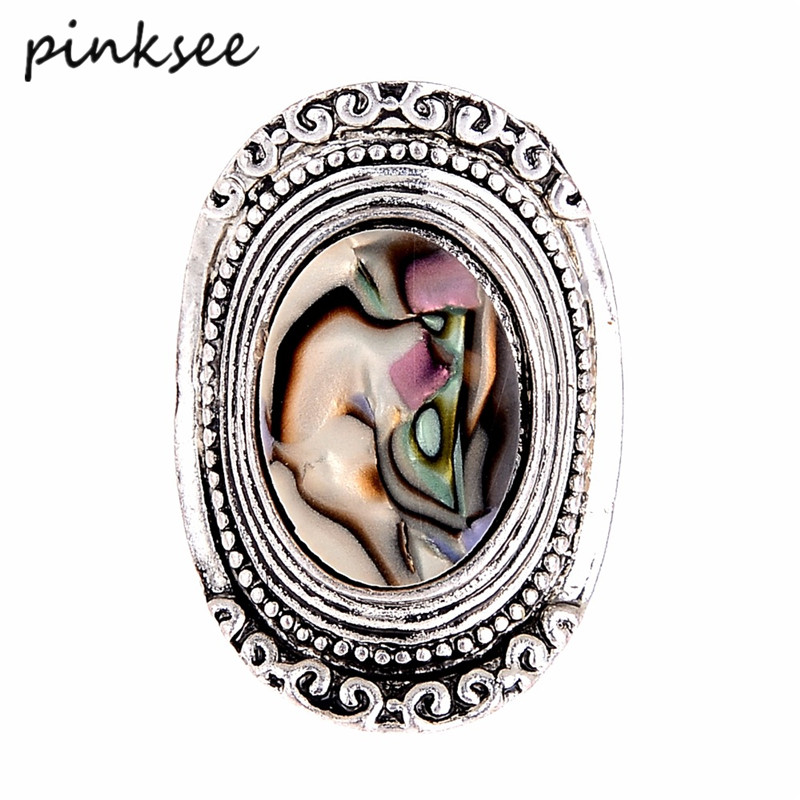 PINKSEE Unique Natural Stone Antique Silver Ring Bohemia Vintage Wide Finger Rings For Women anelli donna Bijoux