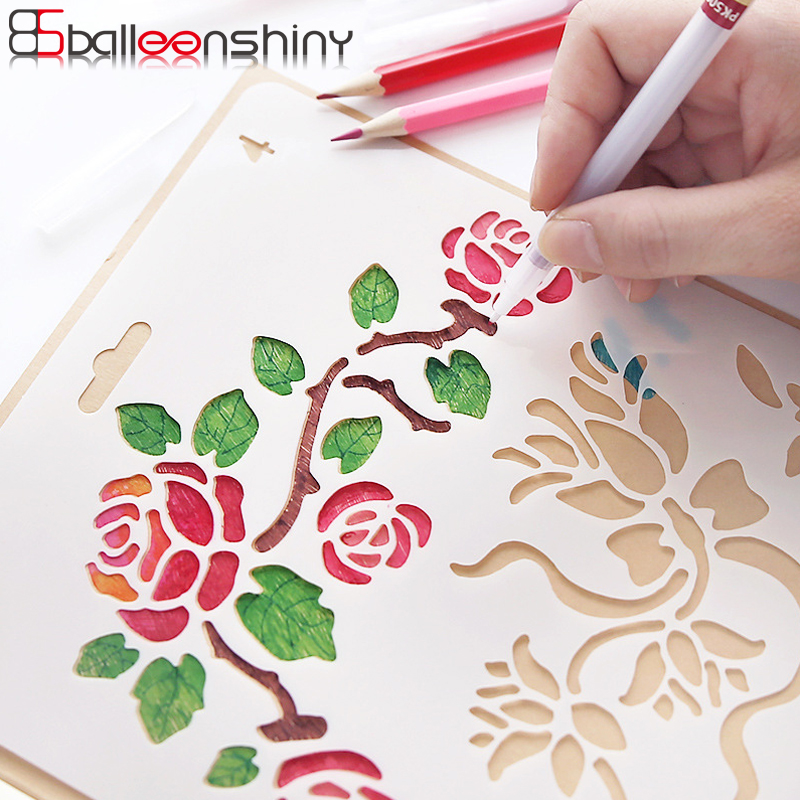 BalleenShiny Hand Drawing Stencil Tools Toys DIY Photo Album Novelty Educational Creative Children Various Styles Art Supplies