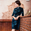 Free Shipping Velvet qipao dress Handcraft Chinese Dress Floral Painted Cheong-sam Qipao Dress Cheongsam Autumn 303