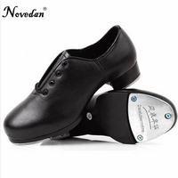 Genuine Leather Adult Tap   Dance     Shoes   Men Women Kicked   Shoes   Sports Leather Soft Bottom High-impact Aluminum Plate Black   Shoe