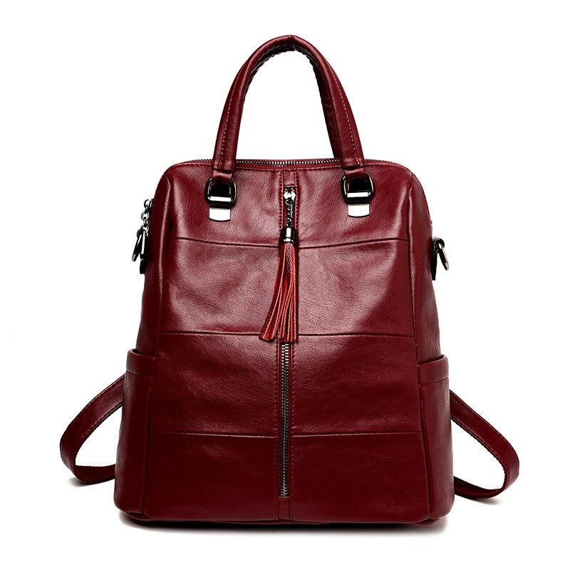 Sacs à dos multifonctions sac à dos en cuir pour femmes sacs à dos gland sacs d'école de haute qualité pour les adolescentes sacs de voyage quotidiens