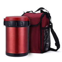 1800ml food thermos 3pcs inox bowl thermo container portable bag food flask vacuum soup jar insulate mug colorful lunch box