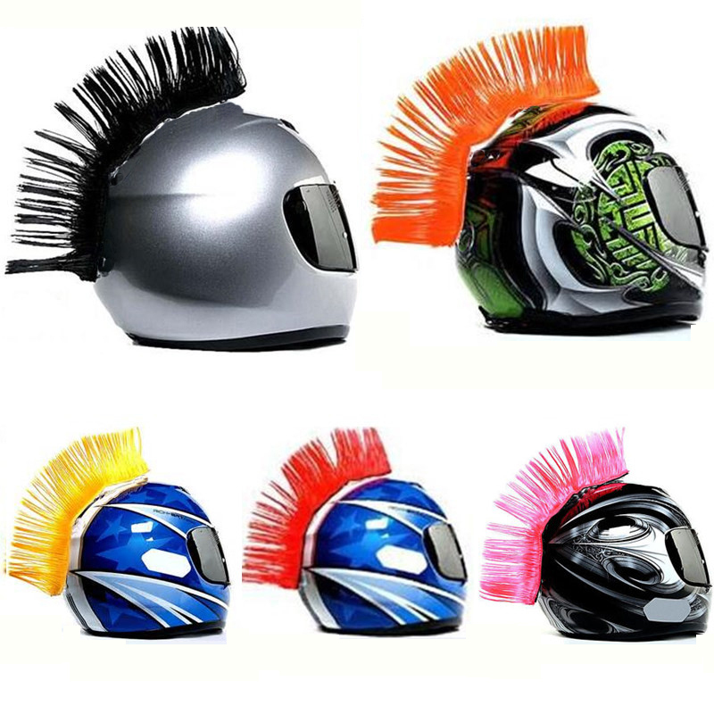 2018 New Outdoor Riding Cap Feather Riding Tools Helmet Decoration Attached Feathers Mohawk Motorcycle Yellow Green Pink