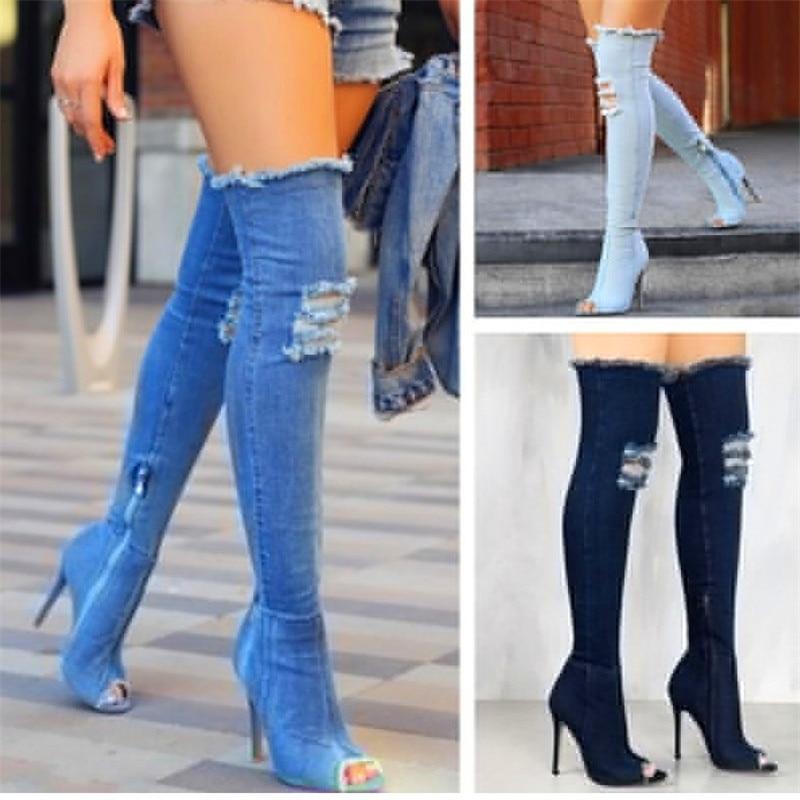 Fashion Blue Denim Long Street Over-the-knee Open Toe Retro Style Stiletto Heel Sexy Jea ...