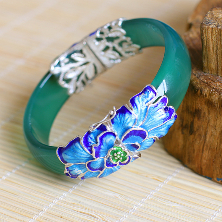 2018 Time-limited Real Bangle Character Of Silver] S925 Sterling Jewelry Wholesale Exquisite Folk Style Lady Bracelet Shaolan the character of silver s925 silver jewelry fashion exquisite lady earrings blue sandstone section