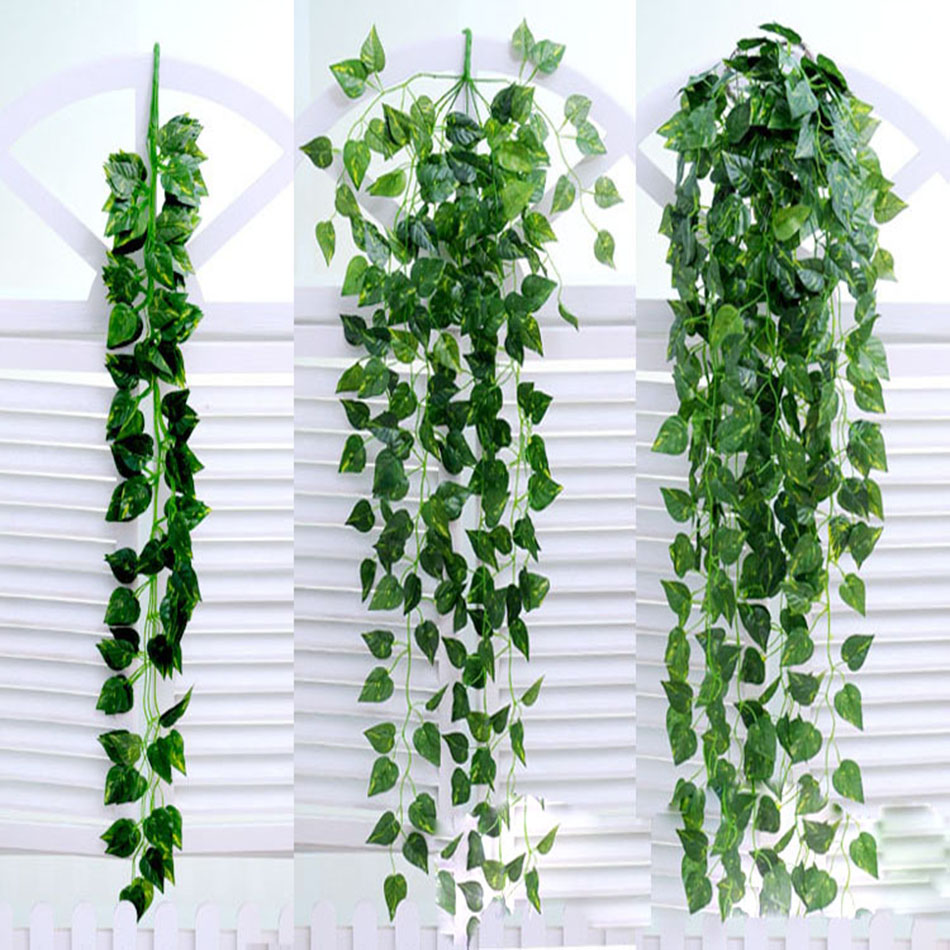 90 20cm silk fabric artificial ivy vine hanging green leaf for Artificial plants for decoration
