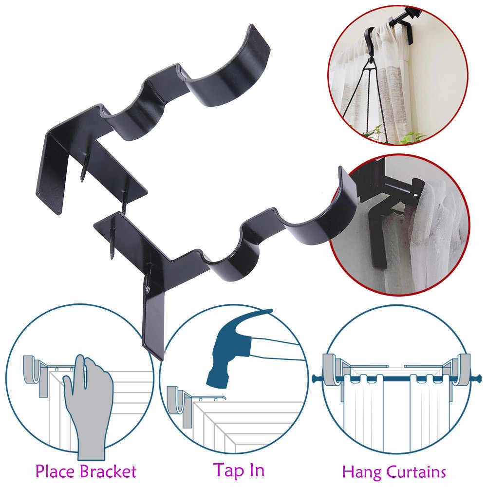 New Curtain Rod Bracket Kwik Hang Curtain Rod Holders Tap Right Into Window Frame Curtain Rod Bracket High Quality#sw