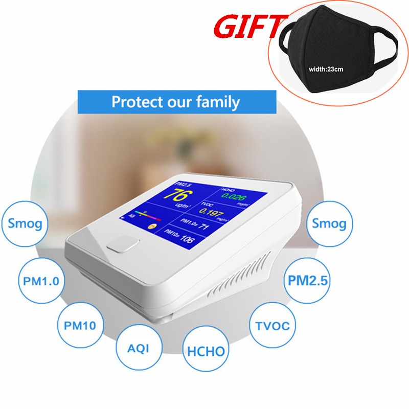 все цены на PM1.0 PM2.5 PM10 TVOC HCHO Detector Temperature Humidity Meter PM 2.5 Gas Analyzer Home Protection AQI Air Quality Monitor онлайн