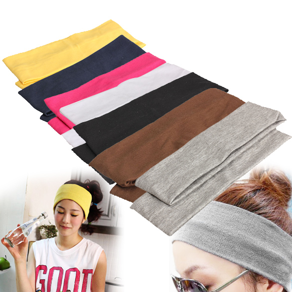 Elastic Headband 2PCS Sports Yoga Accessory Dance Biker Wide Headband Stretch Ribbon Cotton Hairband Hair Accessories