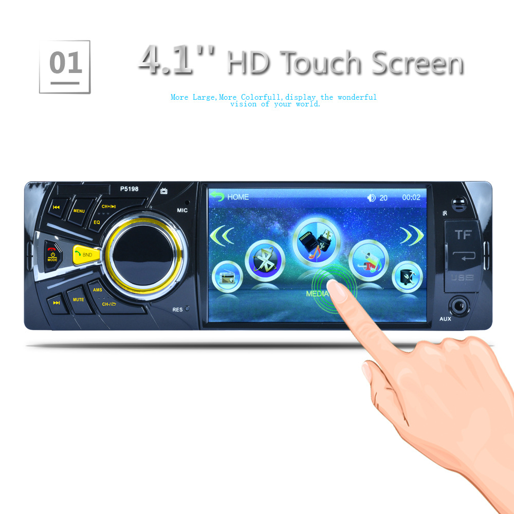4.1 Inch 1 Din Car MP5 Player Audio Stereo Bluetooth USB AUX-IN FM Radio Station OLED Car Radio with Remote Control 1 din car radio 4 1 inch stereo player mp3 mp5 car audio player bluetooth steering wheel remote control usb aux fm
