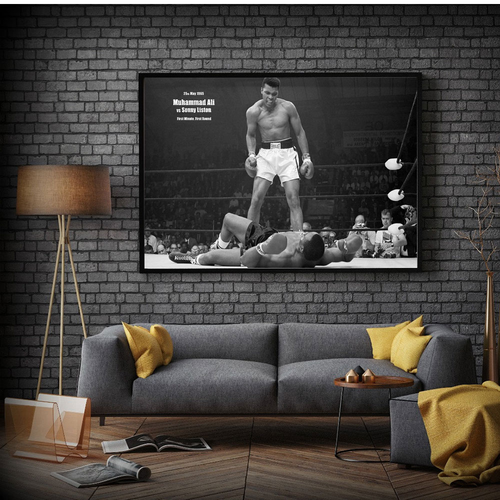 WANGART Black White Quote Poster Muhammad Ali Magnificent Heavyweight Champion Canvas Picture Living Room Bar Office Home Decor image