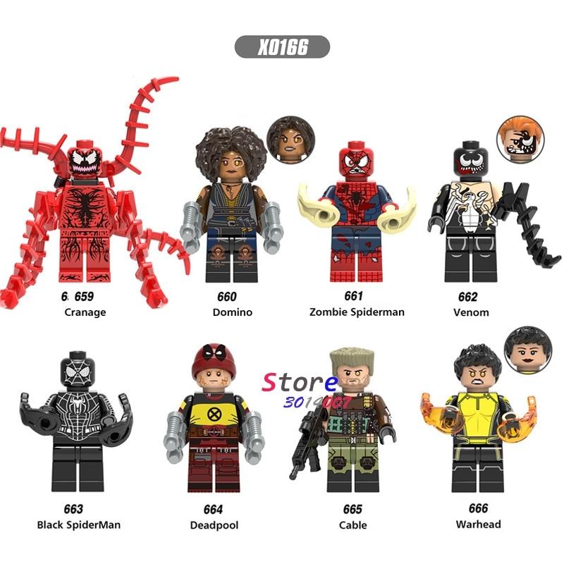 50pcs Deadpool 2 Domino Cable Peter Carnage Warhead Black Spderman Zombie Action building block for children