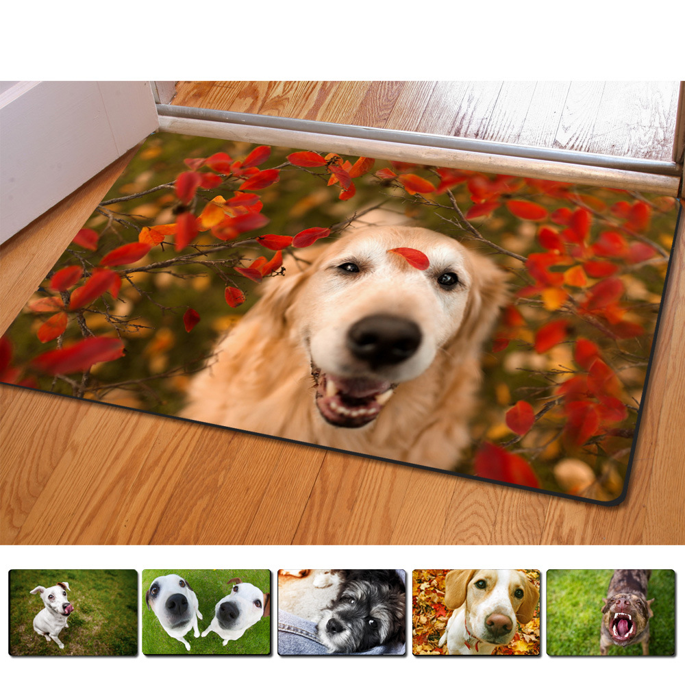 Rubber floor mats for dogs - 40 60cm Non Slip 3d Printed Doormats Lovely Dog Printing Rubber Door Mat For