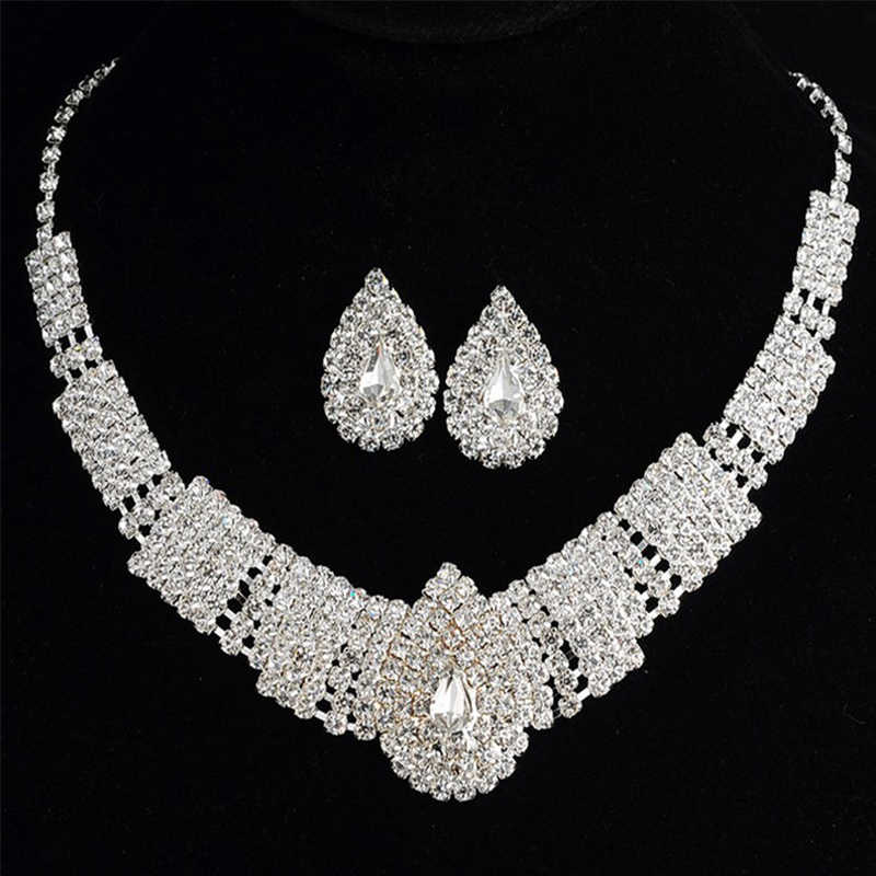 2pcs Luxury Wedding Bridal Jewelry Sets for Brides Women Wedding Necklace Earring Set Red Zircon Silver Crystal Jewelry VP571