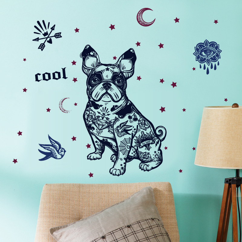 Creative french bulldog silhouette wall sticker fashion cute simulation dog pet hand-painted wallpaper stickers home decoration