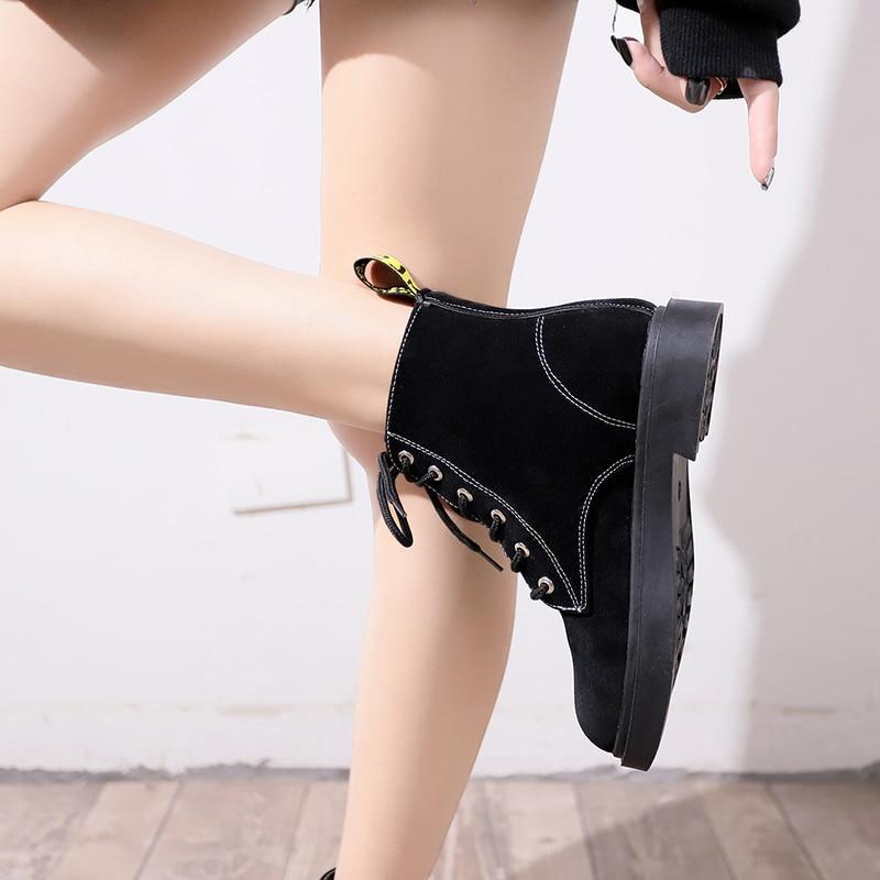 Mujer Zapatos Matin Plataforma Concisa Redonda 2018 Flock Negro Botas Moda Nueva De Estilo Punta Europeo Tobillo Caliente 7P0PqR