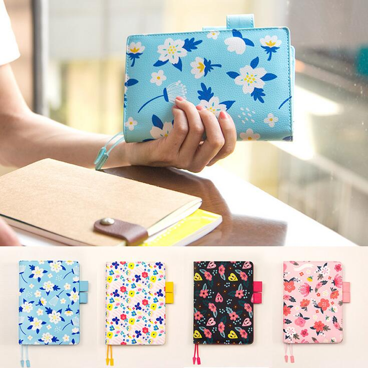 2018 Floral leather notebook DIY diary/daily planner/agenda organizer 207P cute Japan fashion stationery A6 A5 school supplies girly notebook stationery suit clips pens daily plan agenda sticky notes great value planner organizer set cute journals series