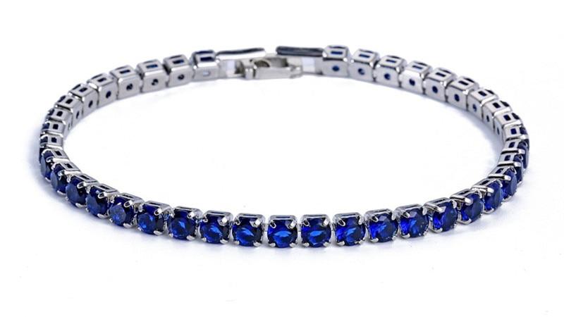 Luxury 4mm Cubic Zirconia Tennis Bracelets Iced Out Chain Crystal Wedding Bracelet For Women Men Gold Silver Bracelet Jewelry 15