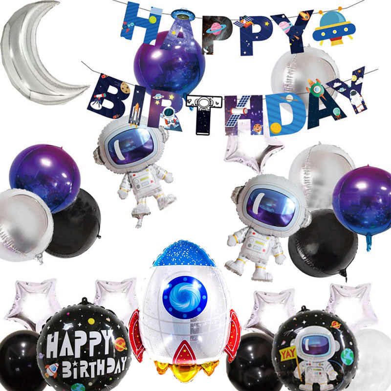 Outer Space Party Astronaut Rocket Schip Folie Ballonnen Galaxy/Zonnestelsel Thema Party Boy Kids Verjaardagsfeestje Decoratie Gunsten