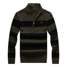 Zipper Pullover Sweater Men Winter Sweater Brand Knitted Striped Turtleneck Male Cotton Full Sleeve Casual Sweaters size:M-XXXL