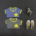 2016 фирменный стиль 2 - 8 лет дети детские детские мальчики футболки лето в полоску дети дети с коротким рукавом звезды футболки